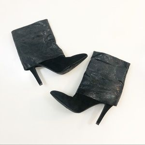 BCBG black boots sparkly ankle heel booties